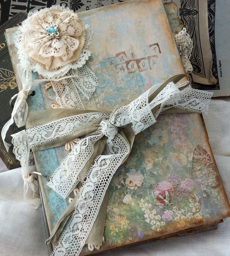 Vintage Style Book Cover : Lace wedding guest book vintage cottage style custom on