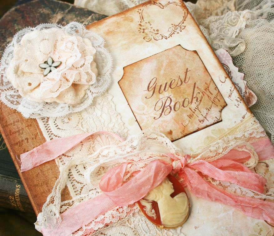 Custom Vintage Style Guest Book For Wedding - Vintage Shabby Chic ...