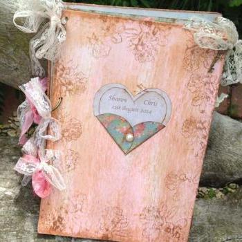 Love heart Wedding Guest Book - In vintage rustic scrapbook style - 24 page