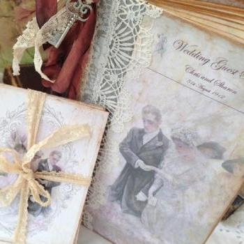 Edwardian themed Wedding Guest Book - Downton Abbey Inspired - 60 pages