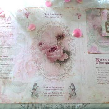 Wedding Place Table Mat - in Pink rose shabby chic theme