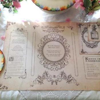 Wedding Place Table Mat - in vintage style