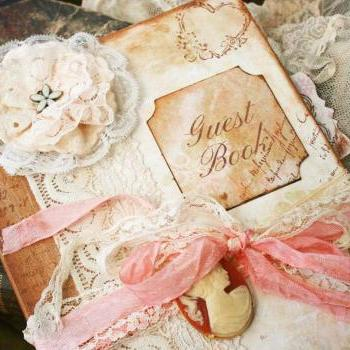Custom Vintage style Guest book for wedding - vintage shabby chic - 150 pages