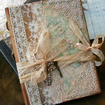 Wedding Guest Book - Our Journey of love - vintage style - Custom made - has 48 pages
