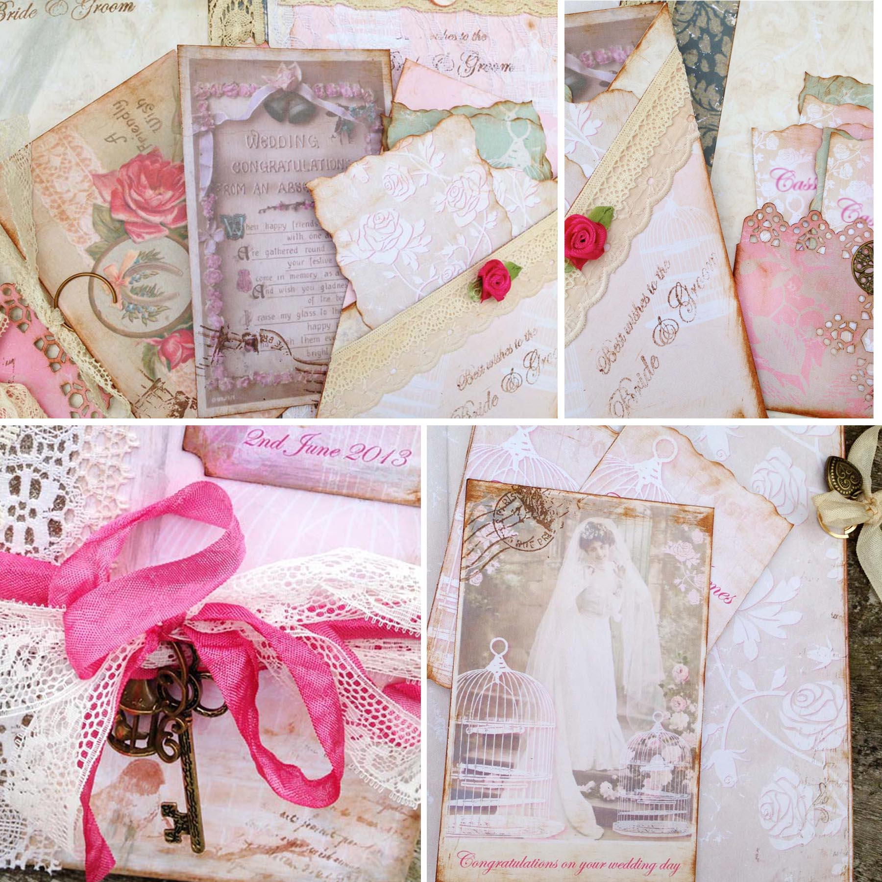 Bird Cage Themed Wedding Guest Book - Pink And Ivory In Vintage ...